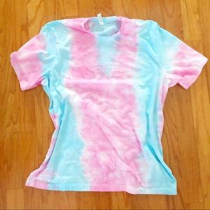 NEW Cotton Candy Soft Tie dye teeS-4X pink blue
